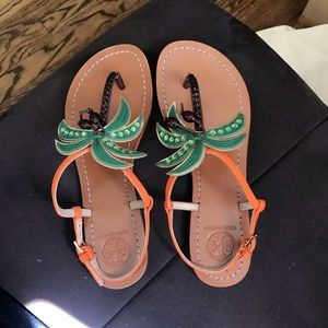 NIB Authentic Tory Burch Palm Tree Leather Sandals